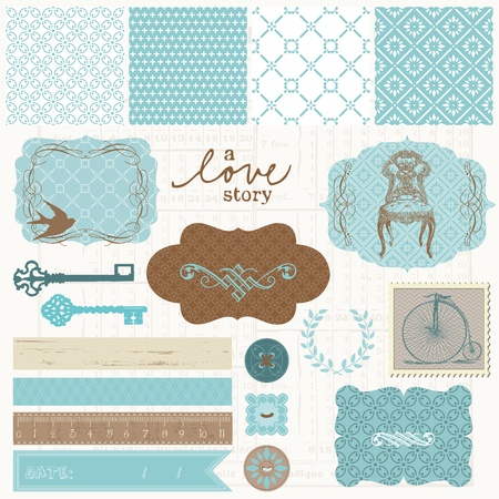 wedding invitation: Scrapbook design elements - Vintage Love Set