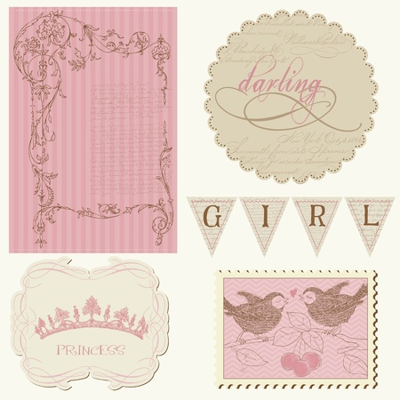 Scrapbook design elements - Beautiful Girl Vector