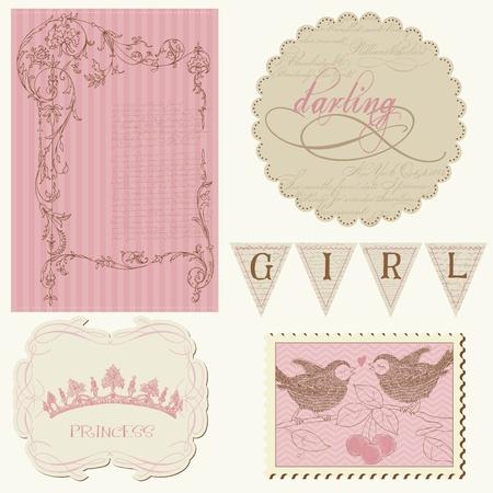 Scrapbook design elements - Beautiful Girl Vector