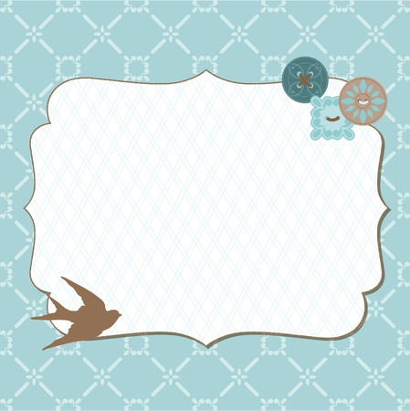 wedding card design: Beautiful Retro Card with photo frame- for invitation, greetings, congratulation, wedding Illustration