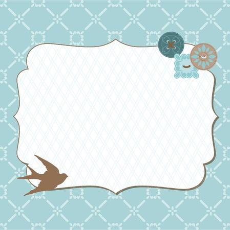 wedding photo frame: Bella carta retr� con cornice foto - per invito, saluti, complimenti, matrimonio