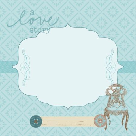 anniversaire mariage: Belle carte r�tro avec cadre photo-pour l'invitation, salutations, f�licitations, mariage