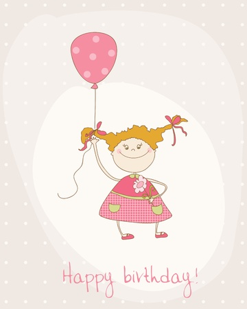 Greeting Birthday Card with Cute Girl Vector