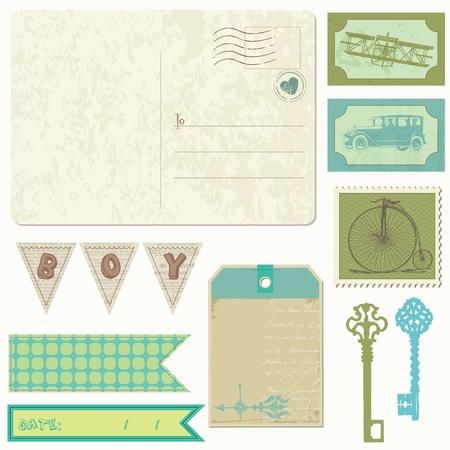 Tarjeta postal de época con elementos de diseño Scrapbook - para niño