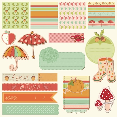 Autumn Cute Elements - for scrapbook, design, invitation, greetings Vector