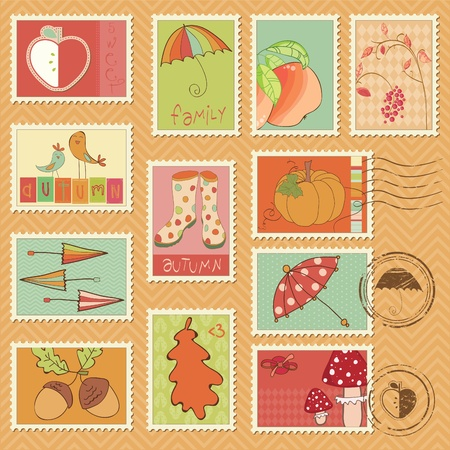 rain boots: Vector autumn stamps - set of beautiful autumn-related rubber and postage stamps