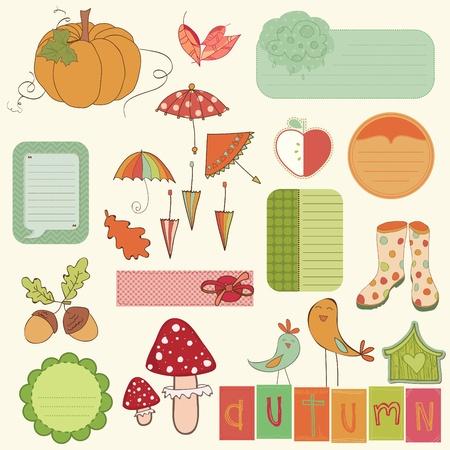 rain boots: Autumn Cute Elements Set - for scrapbook, design, invitation, greetings