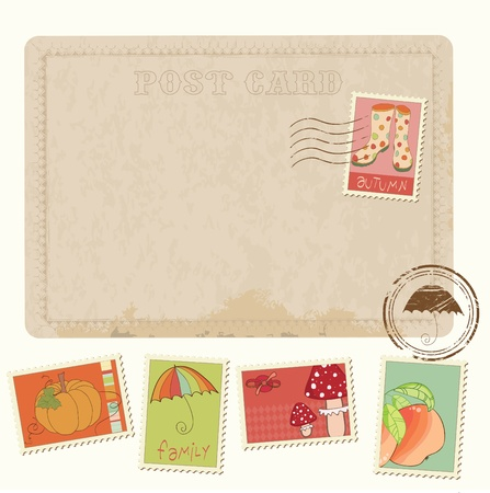 Retro Invitation postcard with Autumn stamps - for design and scrapbook Vector