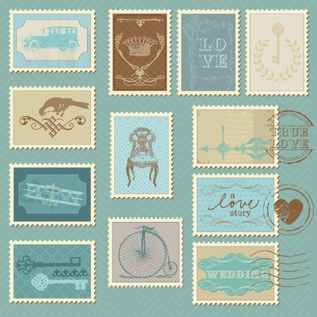 postal card: Retro Postage Stamps - for wedding design, invitation, congratulation, scrapbook Illustration