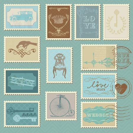 Timbres-poste Rétro - pour la conception de mariage, invitation, félicitation, scrapbooking Vecteurs