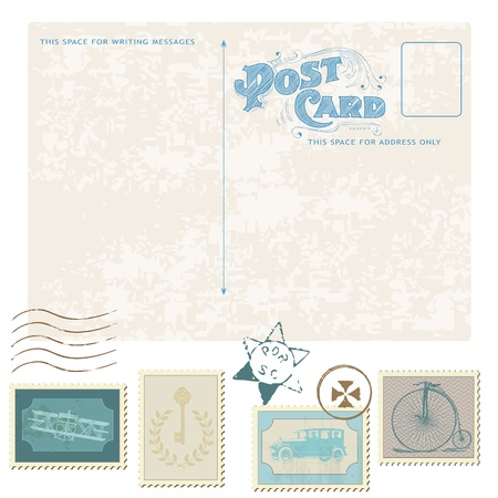 plain postcards: Retro Postcard and Postage Stamps - for wedding design, invitation, congratulation, scrapbook