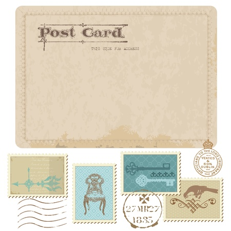 Vintage Postcard and Postage Stamps - for wedding design, invitation, congratulation, scrapbook Stock Vector - 10462948