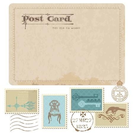 Vintage Postcard en Postzegels - voor de bruiloft design, uitnodiging, felicitatie, scrapbook