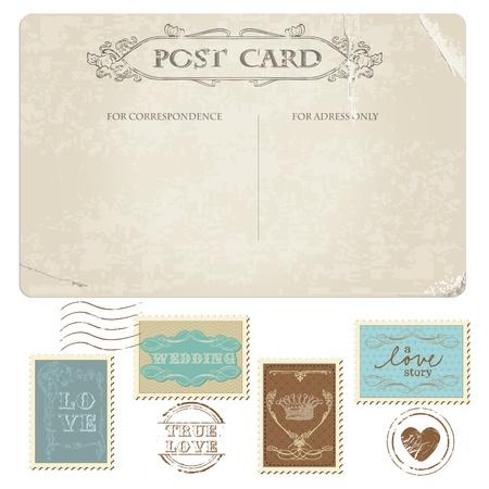 Carte postale de cru et de timbres-poste - pour la conception de mariage, invitation, félicitation, scrapbooking
