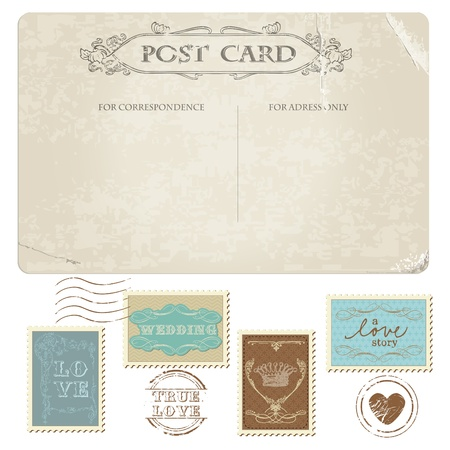 wedding card design: Vintage Postcard and Postage Stamps - for wedding design, invitation, congratulation, scrapbook
