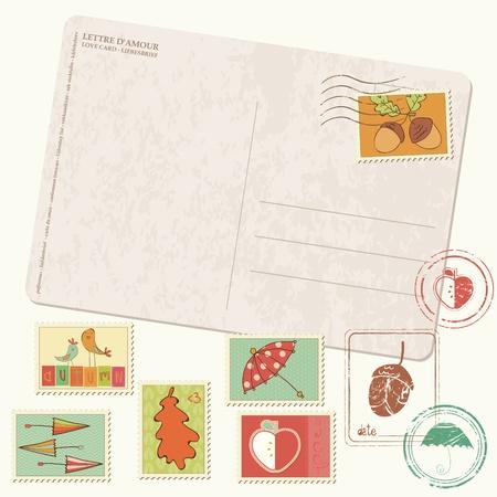 Carte postale d'automne avec des timbres Vector - avec jeu de caoutchouc automne liées belle et timbres-poste