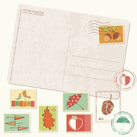 Vector autumn Postcard with stamps - with set of beautiful autumn-related rubber and postage stamps  Vector