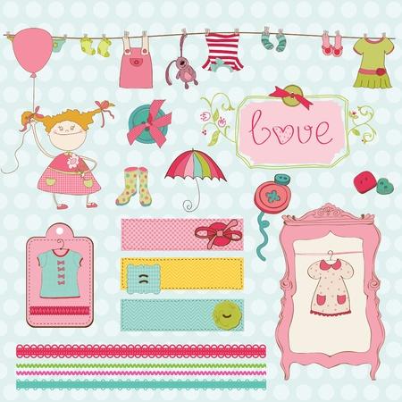 baby scrapbook: Design-Elemente f�r Baby Scrapbook - Baby Girl Garderobe Sammlung