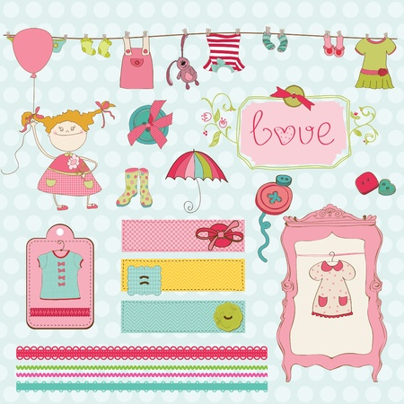 baby shoes: Design Elements for baby Scrapbook - Baby Girl Wardrobe Collection Illustration