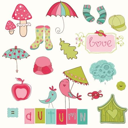 Autumn Cute Elements Set - for scrapbook, design, invitation, greetings Stock Vector - 10462928