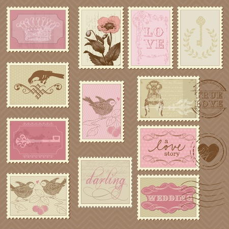 heart with crown: Retro Postage Stamps - for wedding design, invitation, congratulation, scrapbook Illustration