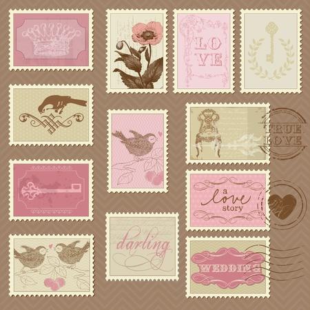 Timbres-poste rétro - conception de mariage, invitation, félicitations, scrapbook