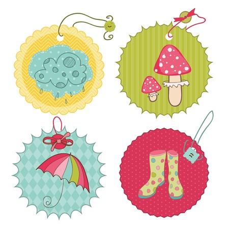botas de lluvia: Etiquetas de otoño Cute - para scrapbook, diseño, invitación, saludos Vectores