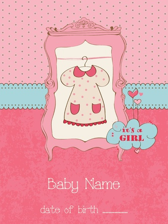 baby scrapbook: Baby Girl Arrival Card with place for your text in vector Illustration