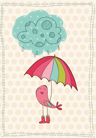 umbrella month: Autumn Card with bird in rain boots - for scrapbook, design, invitation, greetings Illustration