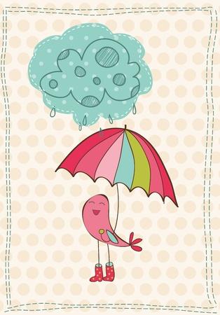 botas de lluvia: Tarjeta de otoño con aves en botas de lluvia - para scrapbook, diseño, invitación, saludos Vectores