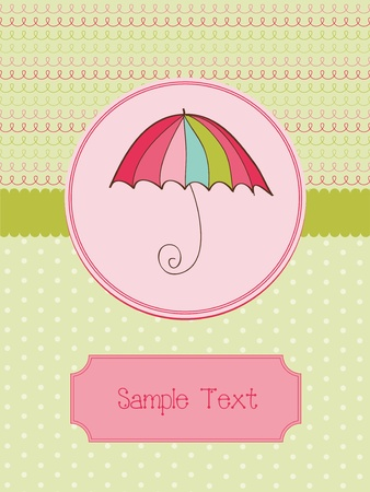 Autumn Cute Umbrella Card with place for your text  in vector