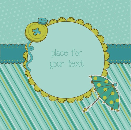 rain boots: Autumn Cute Umbrella Card with place for your text or photo Illustration