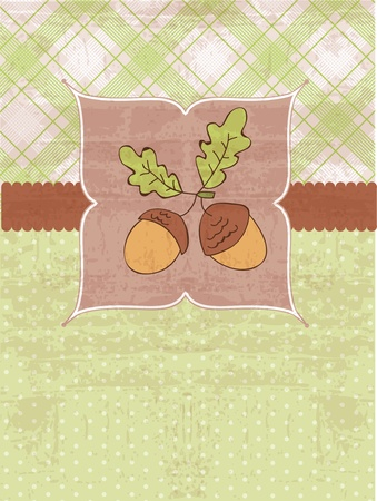 Autumn Vintage Card with Acorns and place for your text Vector