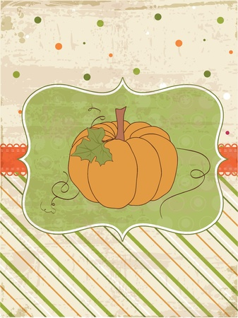 fabric label: Autumn Vintage Card with Pumpkin and place for your text