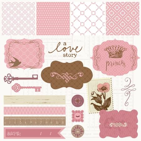 prinzessin: Scrapbook Design-Elemente - Vintage Love Set Illustration