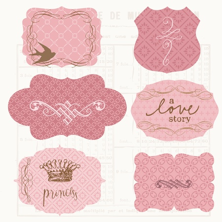 Vintage Design elements for scrapbook - Old tags and frames Stock Vector - 10662871
