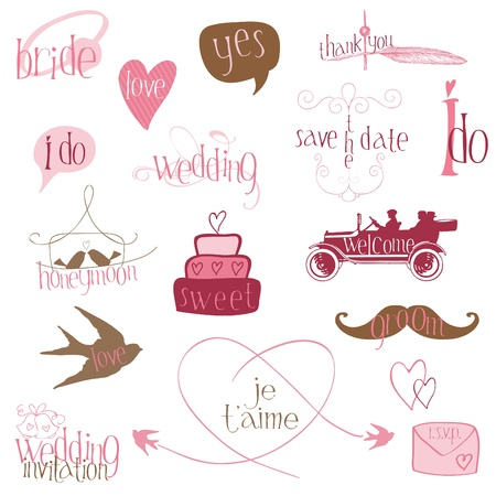 campanas: Elementos de diseño de boda románticos-por invitación, scrapbook en vector