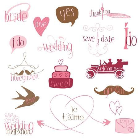 anillo de compromiso: Elementos de diseño de boda románticos-por invitación, scrapbook en vector