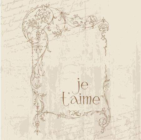 Carte postale Love Vintage - pour la conception, invitation, félicitation scrapbook