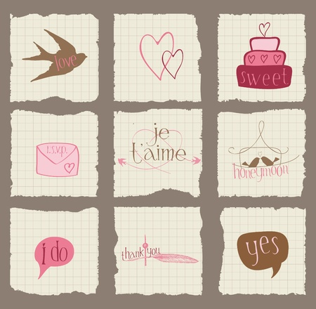 Paper Love and Wedding Design Elements -for invitation, scrapbook in vector Vector