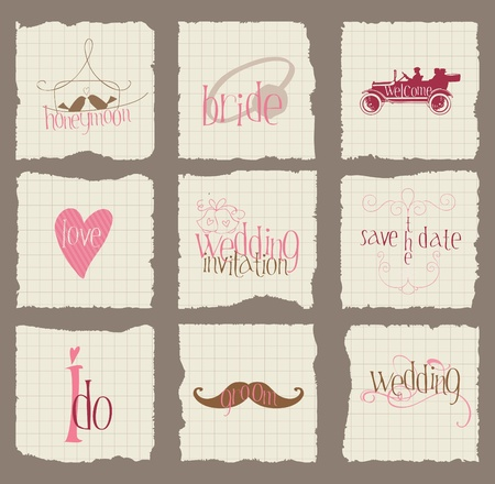 Paper Love and Wedding Design Elements -for invitation, scrapbook in vector Stock Vector - 10662853