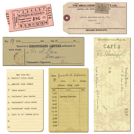 tickets: Old paper objects - vintage tickets, letters, notes - for design and scrapbook in vector