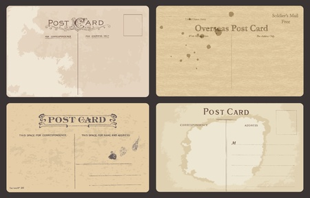 postal vintage: Conjunto de tarjetas postales antiguas en vector