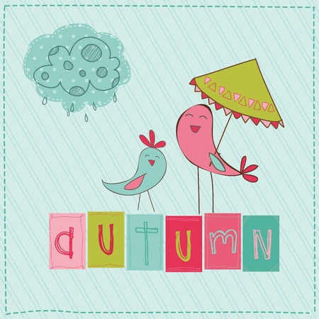 scrap booking: Autumn Cute Rainy Card with Birds and Autumn Sign in vector
