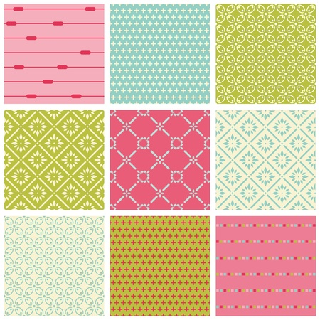 stationary set: Seamless Colorful backgrounds Collection - Vintage Tile Illustration