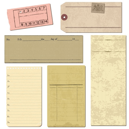 notepad background: Set of Old paper objects - for design and scrapbook in vector