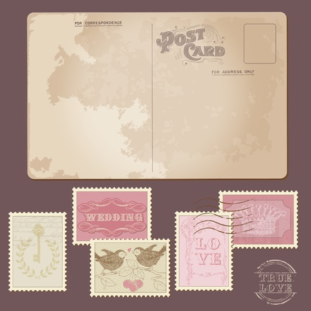 Vintage Postcard and Postage Stamps - for wedding design, invitation, congratulation, scrapbook Vector
