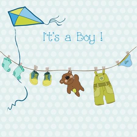 nacimiento: Baby Boy ducha o tarjeta de llegada con lugar para el texto en el vector