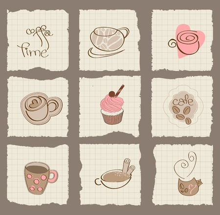 Coffee Design Elements on torn Paper - for scrapbook, design, invitation, greetings Фото со стока - 10662856