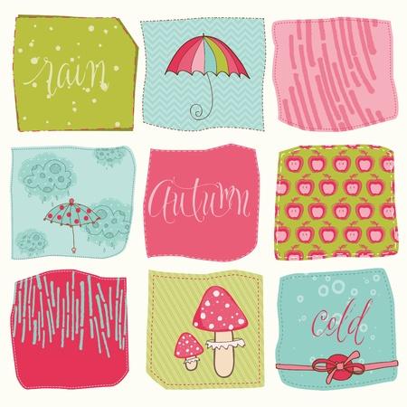 umbrella rain: Autumn Cute Elements Set - for scrapbook, design, invitation, greetings